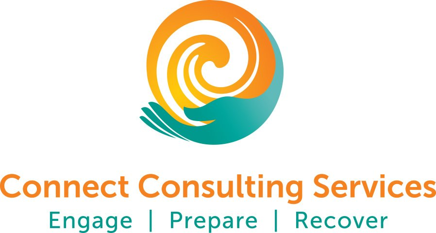 Connect Consulting Services Logo, Aqua colored ring, silhouetted on a white background, with hands encircling a spiral at the center.